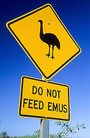 Emu warning sign at Cape Range National Park