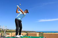 Matteo Manassero (ITA) plays from the roof of the Golf Club during the previews ahead of the Rocco Forte Sicilian Open played at Verdura Resort, Agrigento, Sicily, Italy 08/05/2018.<br /> Picture: Golffile | Phil Inglis<br /> <br /> <br /> All photo usage must carry mandatory copyright credit (&copy; Golffile | Phil Inglis)