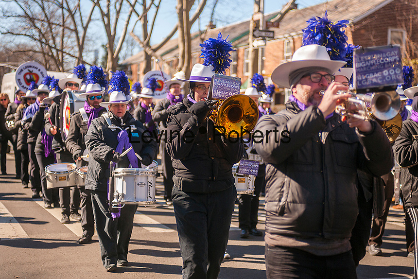 "Lesbian and Gay Big Apple Corp marching band in the Sunnyside, Queens St. Patrick's Parade on March 5, 2017. Billed as ""St. Pat's For All"" the festive event started as an alternative to the New York parade, and organizers have endeavored to make the parade inclusive allowing gays and lesbians to march who were banned from the New York parade. (© Richard B. Levine)"