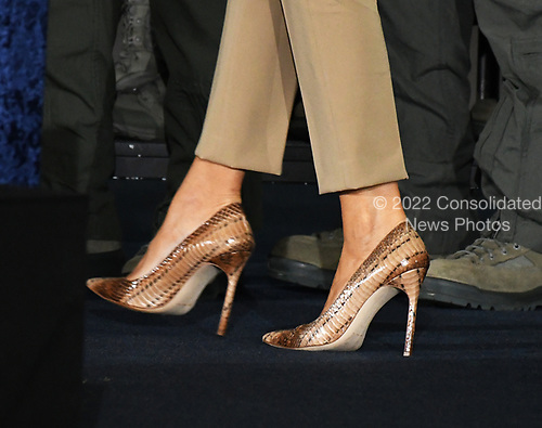 Close-up of the shoes worn by first lady Melania Trump as she and United States President Donald J. Trump depart after he delivered remarks to military personnel and families in a hanger at Joint Base Andrews in Maryland on Friday, September 15, 2017.  He visited JBA to commemorate the 70th anniversary of the US Air Force.<br /> Credit: Ron Sachs / CNP
