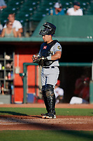Burlington Bees catcher Keinner Pina (6) during a Midwest League game against the Lansing Lugnuts on July 18, 2019 at Cooley Law School Stadium in Lansing, Michigan.  Lansing defeated Burlington 5-4.  (Mike Janes/Four Seam Images)