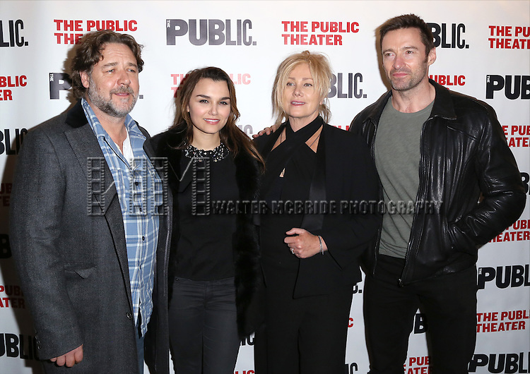 Russell Crowe, Samantha Barks, Deborra Lee Furness and Hugh Jackman attends the Opening Night Celebration of 'Grounded' at the The Public Theatre on April 24, 2015 in New York City.