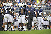 06 October 2012:  Penn State coach Bill O'Brien talks to the defense during a time out. The Penn State Nittany Lions defeated the Northwestern Wildcats 39-28 at Beaver Stadium in State College, PA.