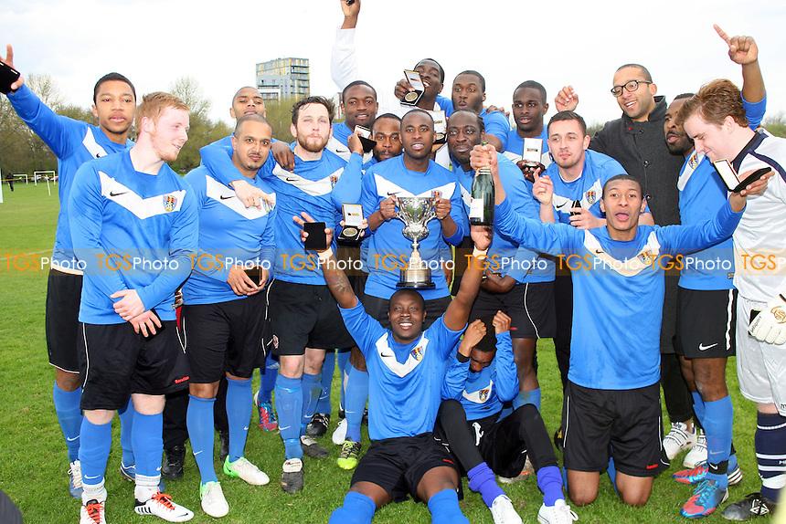 FC Bartlett (sky blue shirts) vs Hackney Borough (royal blue shirts) - Albert Daniels Cup Final at Hackney Marshes 28/04/13 - MANDATORY CREDIT: Dave Simpson/TGSPHOTO - Self billing applies where appropriate - 0845 094 6026 - contact@tgsphoto.co.uk - NO UNPAID USE