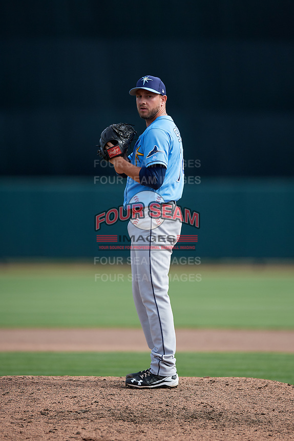 Tampa Bay Rays relief pitcher Cole Sulser (74) gets ready to deliver a pitch during a Grapefruit League Spring Training game against the Baltimore Orioles on March 1, 2019 at Ed Smith Stadium in Sarasota, Florida.  Rays defeated the Orioles 10-5.  (Mike Janes/Four Seam Images)