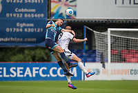 Danny Rowe of Wycombe Wanderers goes up with Scott Rendall of Aldershot Town during the pre season friendly match between Aldershot Town and Wycombe Wanderers at the EBB Stadium, Aldershot, England on 22 July 2017. Photo by Andy Rowland.