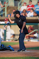 Umpire Joe McCarthy calls a strike during a NY-Penn League game between the Hudson Valley Renegades and Mahoning Valley Scrappers on July 15, 2019 at Eastwood Field in Niles, Ohio.  Mahoning Valley defeated Hudson Valley 6-5.  (Mike Janes/Four Seam Images)