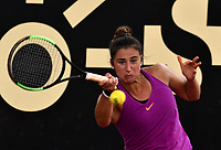 BOGOTA - COLOMBIA – 12 – 04 - 2017: Sara Sorribes Tormo de España, devuelve la bola a Katerina Siniakova de Republica Checa, durante partido por el Claro Colsanitas WTA, que se realiza en el Club Los Lagartos de la ciudad de Bogota. / Sara Sorribes Tormo from Spain, returns the ball to Katerina Siniakova from Czech Republic, during a match for the WTA Claro Colsanitas, which takes place at Los Lagartos Club in Bogota city. Photo: VizzorImage / Luis Ramirez / Staff.