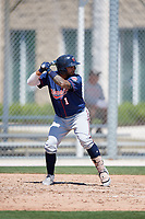 Minnesota Twins Jhon Alvarez (1) during a Minor League Spring Training game against the Tampa Bay Rays on March 15, 2018 at CenturyLink Sports Complex in Fort Myers, Florida.  (Mike Janes/Four Seam Images)