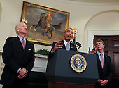 "United States President Barack Obama, center, delivers a statement on the closing of the Guantanamo Bay detention facility in the Roosevelt Room of the White House, Washington, DC, February 23, 2016.  US Vice President Joe Biden, left, and US Secretary of Defense Ashton Carter, right, stand with the President. In his remarks, Obama said the detention facility ""undermines"" national security and is ""counterproductive to our fight against terrorists because they use it as propaganda in their efforts to recruit.""<br /> Credit: Aude Guerrucci / Pool via CNP"