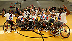 MARSHALL, MN - MARCH 17:  Alabama Crimson Tide celebrate their 69-65 win over the University Wisconsin Whitwater in the championship game at the 2018 National Intercollegiate Wheelchair Basketball Tournament at Southwest Minnesota State University in Marshall, MN. (Photo by Dave Eggen/Inertia)