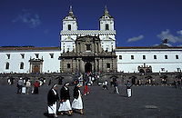 Three nuns crossing the Plaza San Francisco in old Quito, Ecuador. The Monastery of San Francisco is in the Background. Old Quito was made a UNESCO World Heritage Site in 1978.
