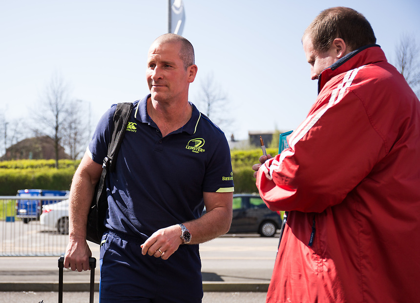 Leinster's Coach Stuart Lancaster arrives at the stadium<br /> <br /> Photographer Simon King/CameraSport<br /> <br /> Guinness PRO12 Round 19 - Ospreys v Leinster Rugby - Saturday 8th April 2017 - Liberty Stadium - Swansea<br /> <br /> World Copyright &copy; 2017 CameraSport. All rights reserved. 43 Linden Ave. Countesthorpe. Leicester. England. LE8 5PG - Tel: +44 (0) 116 277 4147 - admin@camerasport.com - www.camerasport.com