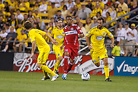 3 JULY 2010:  Mike Banner of Chicago Fire (18) and Adam Moffat of the Columbus Crew (22) during MLS soccer game between Chicago Fire vs Columbus Crew at Crew Stadium in Columbus, Ohio on July 3, 2010.