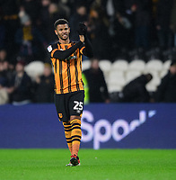 Hull City's Fraizer Campbell applauds the fans at the final whistle<br /> <br /> Photographer Chris Vaughan/CameraSport<br /> <br /> The EFL Sky Bet Championship - Hull City v Sheffield Wednesday - Saturday 12th January 2019 - KCOM Stadium - Hull<br /> <br /> World Copyright &copy; 2019 CameraSport. All rights reserved. 43 Linden Ave. Countesthorpe. Leicester. England. LE8 5PG - Tel: +44 (0) 116 277 4147 - admin@camerasport.com - www.camerasport.com
