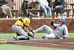 SIOUX FALLS, SD: Newt Johnson #33 from South Dakota State University is tagged out at home by Sean Noel #15 from North Dakota State University in the ninth inning Thursday in Sioux Falls. (Dave Eggen/Inertia)