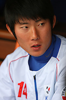 Young Min Ko of Korea during a game against Venezuela at the World Baseball Classic at Dodger Stadium on March 21, 2009 in Los Angeles, California. (Larry Goren/Four Seam Images)