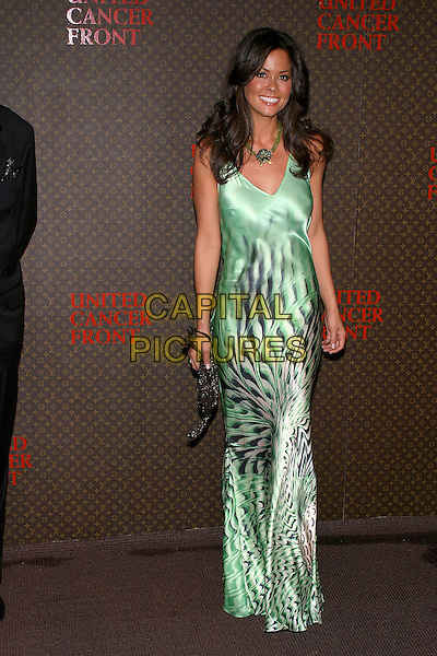 BROOKE BURKE.The 2nd Annual Louis Vuitton United Cancer Front Gala, Universal City, California, USA,.November 8th 2004..full length long green satin dress black print pattern.Ref: ADM.www.capitalpictures.com.sales@capitalpictures.com.©Capital Pictures.