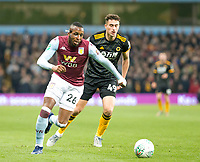 30th October 2019; Villa Park, Birmingham, Midlands, England; English Football League Cup, Carabao Cup, Aston Villa versus Wolverhampton Wanderers; Jonathan Kodjia of Aston Villa with the ball at his feet leaving behind Maximilian Kilman of Wolverhampton Wanderers  - Strictly Editorial Use Only. No use with unauthorized audio, video, data, fixture lists, club/league logos or 'live' services. Online in-match use limited to 120 images, no video emulation. No use in betting, games or single club/league/player publications