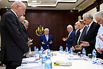Palestinian President Mahmoud Abbas chairs a meeting of Executive Committee at his headquarters in the West Bank city of Ramallah on July 28, 2018. Photo by Thaer Ganaim