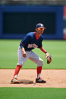 GCL Red Sox shortstop Yomar Valentin (46) waits for a throw during the second game of a doubleheader against the GCL Rays on August 4, 2015 at Charlotte Sports Park in Port Charlotte, Florida.  GCL Red Sox defeated the GCL Rays 2-1.  (Mike Janes/Four Seam Images)