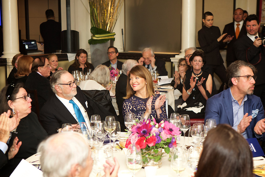 New York, NY - March 13, 2016: Honree Robert S. Grimes (center, left) and MC, Norah O'Donnell at Black Tie and Blue Jeans, the annual Sunday Supper fundraiser at Daniel, benefiting Citymeals on Wheels.<br /> <br /> CREDIT: Clay Williams for Edible Manhattan.<br /> <br /> &copy; Clay Williams / claywilliamsphoto.com