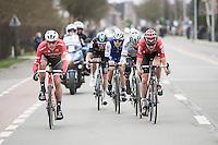 Tiesj Benoot (BEL/Lotto-Soudal) pacing the breakaway group that also includes Peter Sagan (SVK/Bora-Hansgrohe), Jasper Stuyven (BEL/Trek-Segafredo),  Matteo Trentin (ITA/QuickStep) & Luke Row (GBR/Team Sky)<br /> <br /> 69th Kuurne-Brussel-Kuurne 2017 (1.HC)