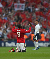 Manchester United's Romelu Lukaku celebrates at the end of the game<br /> <br /> Photographer Rob Newell/CameraSport<br /> <br /> Emirates FA Cup - Emirates FA Cup Semi Final - Manchester United v Tottenham Hotspur - Saturday 21st April 2018 - Wembley Stadium - London<br />  <br /> World Copyright &copy; 2018 CameraSport. All rights reserved. 43 Linden Ave. Countesthorpe. Leicester. England. LE8 5PG - Tel: +44 (0) 116 277 4147 - admin@camerasport.com - www.camerasport.com