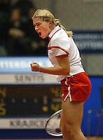 12-12-2005,Rotterdam, LSI Masters, Michella Krajicek schreeuwt het uit in haar partij tegen Linda Sentis