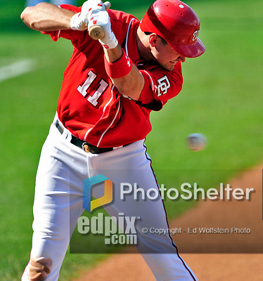 23 August 2009: Washington Nationals' All-Star third baseman Ryan Zimmerman avoids getting hit by a pitch by the Milwaukee Brewers at Nationals Park in Washington, DC. The Nationals defeated the Brewers 8-3 to take the third game of their four-game series, snapping a five games losing streak. Mandatory Credit: Ed Wolfstein Photo