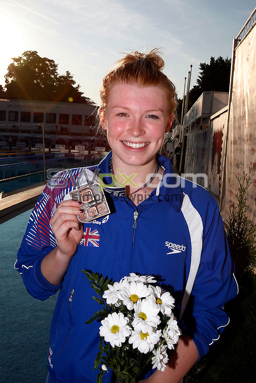 PICTURE BY VAUGHN RIDLEY/SWPIX.COM...Swimming - European Junior Swimming Championships 2011- Tasmajdan Swim Centre, Belgrade, Serbia - 10/07/11...Girls 200m Butterfly Final - Great Britain's Phoebe Lenderyou wins Bronze.