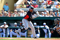 Atlanta Braves infielder Juan Francisco #25 during a Spring Training game against the Detroit Tigers at Joker Marchant Stadium on February 27, 2013 in Lakeland, Florida.  Atlanta defeated Detroit 5-3.  (Mike Janes/Four Seam Images)