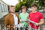 Students from Gaelcoláiste Chiarraí pictured after receiving their Leaving Certificate results on Wednesday morning, l-r: Cathal Ó Curráin (Farmersbridge), Daniel Ó Murchú (Abbeydorney) and Eoin Ó Curraí (Camp).