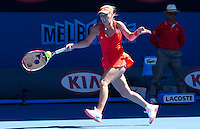 CAROLINE WOZNIACKI (DEN) against  KIM CLIJSTERS (BEL) in the Quarter Finals of the Women's Singles. Kim Clijsters beat Caroline Wozniacki 6-3 7-6  ..24/01/2012, 24th January 2012, 24.01.2012 - Day 9..The Australian Open, Melbourne Park, Melbourne,Victoria, Australia.@AMN IMAGES, Frey, Advantage Media Network, 30, Cleveland Street, London, W1T 4JD .Tel - +44 208 947 0100..email - mfrey@advantagemedianet.com..www.amnimages.photoshelter.com.