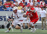 Annapolis, MD - May 20, 2018: Maryland Terrapins Connor Kelly (1) gets pushed in the back by Cornell Big Red Jake Pulver (34) during the quarterfinal game between Maryland vs Cornell at  Navy-Marine Corps Memorial Stadium in Annapolis, MD.   (Photo by Elliott Brown/Media Images International)