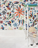 Otomi, a hand-cut jewel glass mosaic, shown in Absolute White, Peridot, Aventurine, Lapis Lazuli, Sardonyx, Citrine, and Ruby. Part of the Kiddo Collection by Cean Irminger for New Ravenna.