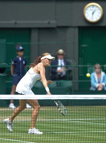 05.07.2012. The All England Lawn Tennis and Croquet Club. London, England.Agnieszka Radwanska of Poland in action against Angelique Kerber of Germany during ladies semi finals at Wimbledon Tennis Championships at The All England Lawn Tennis and Croquet Club. London, England, UK