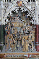 St Firmin baptising the people of Amiens, Gothic style polychrome high-relief sculpture from the funerary monument of Ferry de Beauvoir, 1490, in the first intercolumniation of the choir screen in the south ambulatory, depicting the life of St Firmin, at the Basilique Cathedrale Notre-Dame d'Amiens or Cathedral Basilica of Our Lady of Amiens, built 1220-70 in Gothic style, Amiens, Picardy, France. St Firmin, 272-303 AD, was the first bishop of Amiens. Amiens Cathedral was listed as a UNESCO World Heritage Site in 1981. Picture by Manuel Cohen