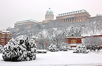 Budapest Castle in the winter snow, Budapst stock photos
