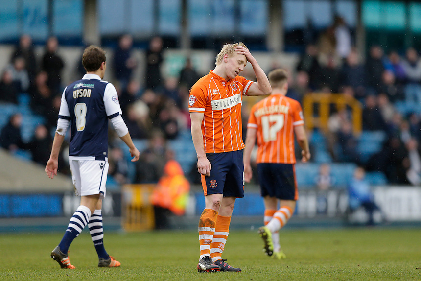 Blackpool's Mark Cullen reacts after putting the ball in the back of the net, only to see it disallowed<br /> <br /> Photographer Craig Mercer/CameraSport<br /> <br /> Football - The Football League Sky Bet League One - Millwall v Blackpool - Saturday 5th March 2016 - The Den - Millwall<br /> <br /> &copy; CameraSport - 43 Linden Ave. Countesthorpe. Leicester. England. LE8 5PG - Tel: +44 (0) 116 277 4147 - admin@camerasport.com - www.camerasport.com