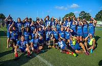 The tasman men's and women's teams pose for a group photo after the Men's cup final between Tasman and Counties on day two of the 2018 Bayleys National Sevens at Tauranga Domain in Tauranga, New Zealand on Sunday, 16 December 2018. Photo: Dave Lintott / lintottphoto.co.nz