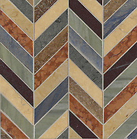 Errol, a stone mosaic, shown in Blue Macauba, Red Lake, Renaissance Bronze, Jerusalem Gold, Jura Green, Travertine Noce, Verde Luna, and Rosa Verona, is part of the Ann Sacks Beau Monde collection sold exclusively at www.annsacks.com