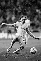 Real Madrid¥s Luka Modric during Champions League soccer match at Santiago Bernabeu stadium in Madrid, Spain. April 02, 2014. (ALTERPHOTOS/Caro Marin)(EDITORS NOTE: This image has been converted to black and white)