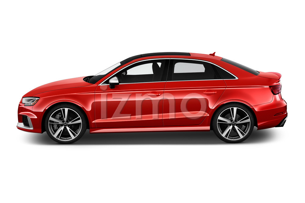 Car Driver side profile view of a 2018 Audi RS-3 4WD 4 Door Sedan Side View