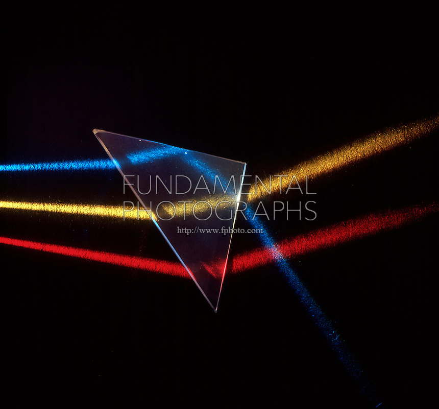 REFLECTION &amp; REFRACTION OF LIGHT<br /> Three Light Beams Incident on Triangular Prism<br /> Three beams of light incident on triangular prism. As light passes from air to glass it is refracted towards the normal. As light passes from glass to air it is refracted away from the normal. The blue beam is also internally reflected.