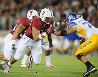 Stanford, Ca - Friday, August 31, 2012: Ben Gardner celebrates during Stanford's 20-17 win over San Jose State.