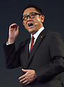 November 6, 2015, Tokyo, Japan - President Akio Toyoda of Japans Toyota Motor Corp. announces the establishment of a new research and development arm headquartered in Silicon Valley in California during a news conference at a Tokyo hotel on Friday, November 6, 2015. The worlds largest automaker will invest one billion dollars over the next five years to the Toyota Research Institute to focus on artificial intelligence and robotics.  (Photo by Natsuki Sakai/AFLO) AYF -mis-