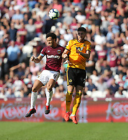 West Ham United's Felipe Anderson and Wolverhampton Wanderers' Matt Doherty<br /> <br /> Photographer Rob Newell/CameraSport<br /> <br /> The Premier League - West Ham United v Wolverhampton Wanderers - Saturday 1st September 2018 - London Stadium - London<br /> <br /> World Copyright © 2019 CameraSport. All rights reserved. 43 Linden Ave. Countesthorpe. Leicester. England. LE8 5PG - Tel: +44 (0) 116 277 4147 - admin@camerasport.com - www.camerasport.com