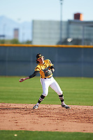 Brett Barrera (4) of Los Osos High School in Etiwanda, California during the Baseball Factory All-America Pre-Season Tournament, powered by Under Armour, on January 14, 2018 at Sloan Park Complex in Mesa, Arizona.  (Zachary Lucy/Four Seam Images)