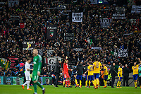 Juventus fans celebrate their side's victory at full time <br /> <br /> Photographer Craig Mercer/CameraSport<br /> <br /> UEFA Champions League Round of 16 Second Leg - Tottenham Hotspur v Juventus - Wednesday 7th March 2018 - Wembley Stadium - London <br />  <br /> World Copyright &copy; 2017 CameraSport. All rights reserved. 43 Linden Ave. Countesthorpe. Leicester. England. LE8 5PG - Tel: +44 (0) 116 277 4147 - admin@camerasport.com - www.camerasport.com